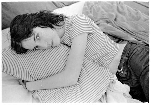 Judy Linn, Patti hugs pillow, early 1970s jlf7034